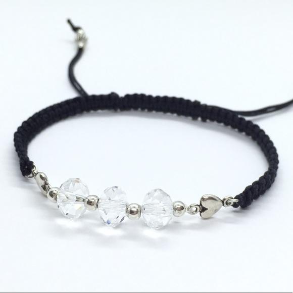 Sparkling White Crystals Shamballa Bracelet